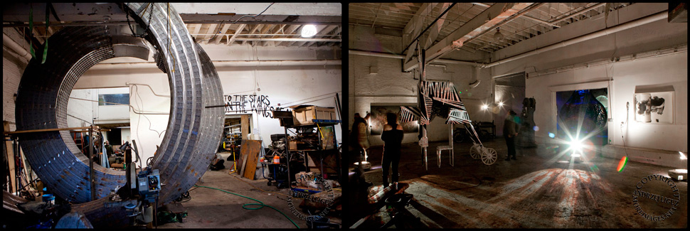 The entrance room in Gowanus Ballroom before and after Hurricane Sandy hit NYC