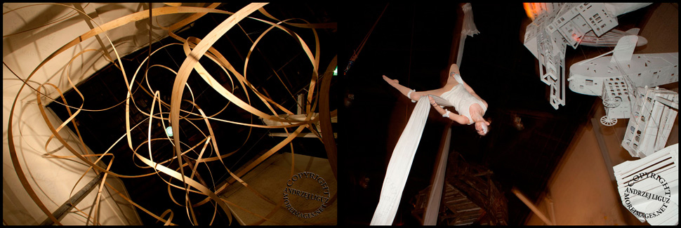 Wood sculpture and aerialist at Gowanus Ballroom