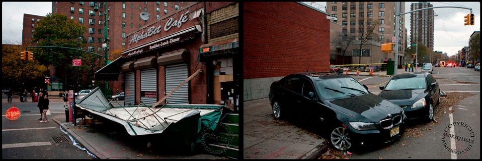 Alphabet Cafe, Ave B / Trashed cars, Ave C, East Village, NYC. Hurricane Sandy +2 10/31/12 © Andrzej Liguz/moreimages.net. Not to be used without permission.