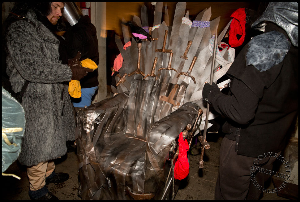 The 'Game Of Thongs' Throne Cart at Gowanus Ballroom after the 2013 NYC Idiotarod Race © Andrzej Liguz/moreimages.net. Not to be used without permission