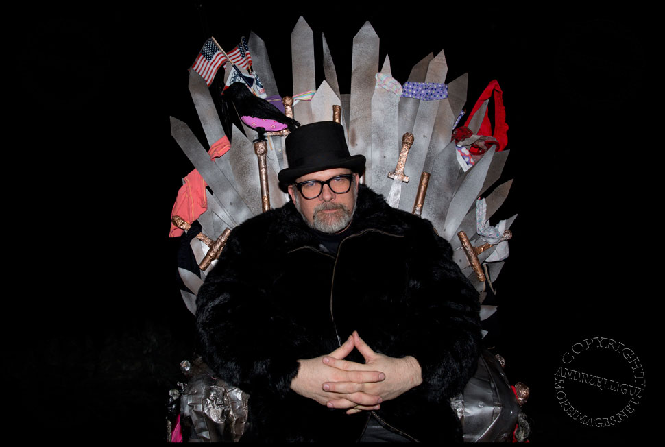 Me sitting in the 'Game Of Thongs' Throne Cart at Gowanus Ballroom during the Cirque de Idiotarod Afterparty © Andrzej Liguz/moreimages.net. Not to be used without permission