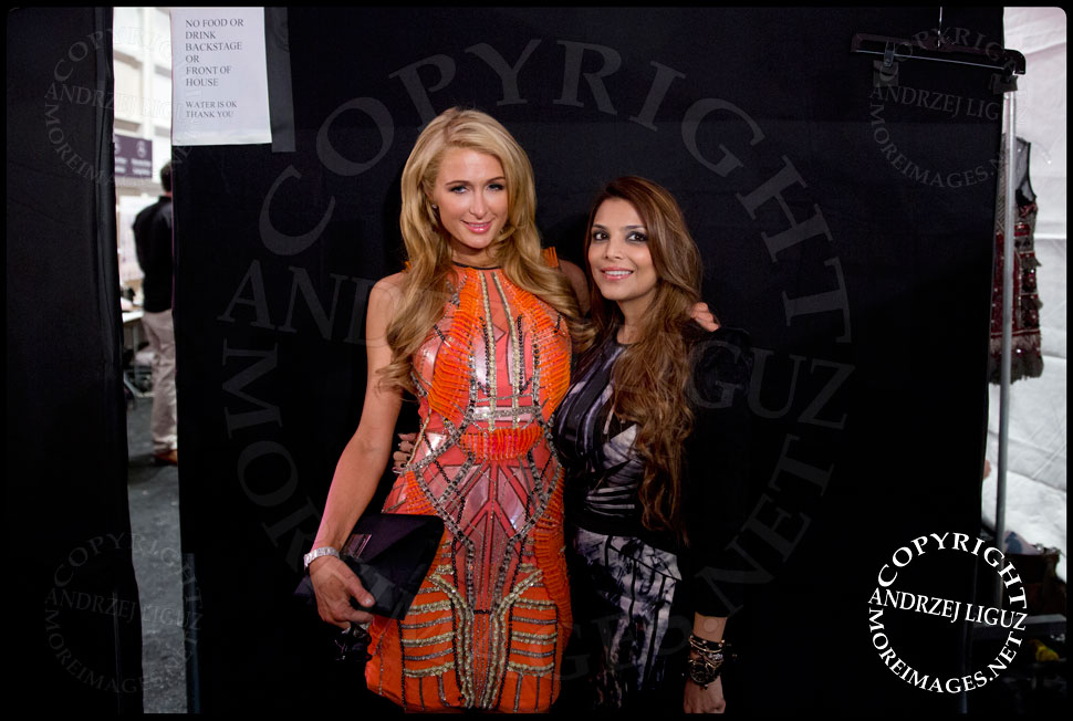 Paris Hilton & Falguni at the Falguni & Shane Peacock Spring & Summer 2014 show at NYC Fashion Week © Andrzej Liguz/moreimages.net. Not to be used without permission