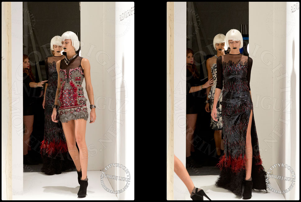 Models heading out on the catwalk to show the Falguni & Shane Peacock Spring & Summer 2014 show at NYC Fashion Week
