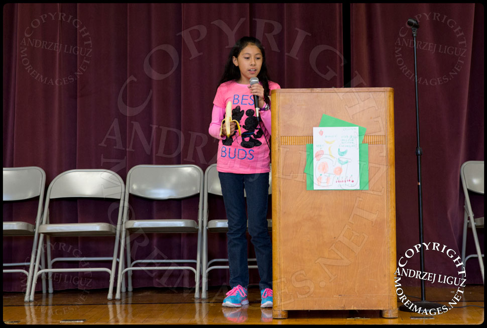 A pupil speaks at the launch of the Lets Move Salad Bar at Vails Gate Elementary School in New Windsor, NY © Andrzej Liguz/moreimages.net. Not to be used without permission