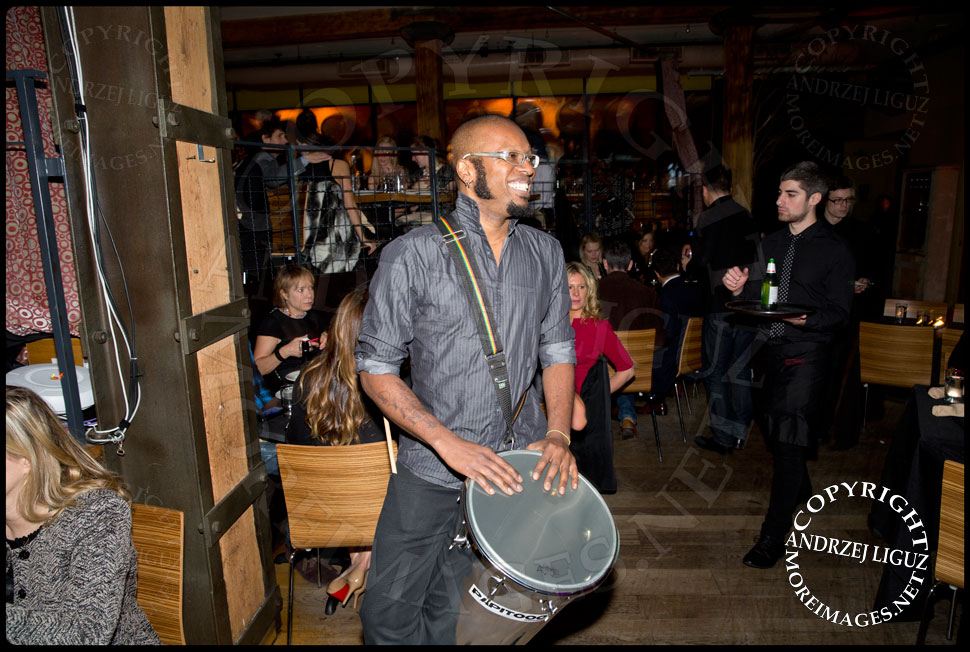 Davi Vieira playing his drum at the African Childrens Choir 5th Annual NYC ChangeMakers Gala  © Andrzej Liguz/moreimages.net. Not to be used without permission