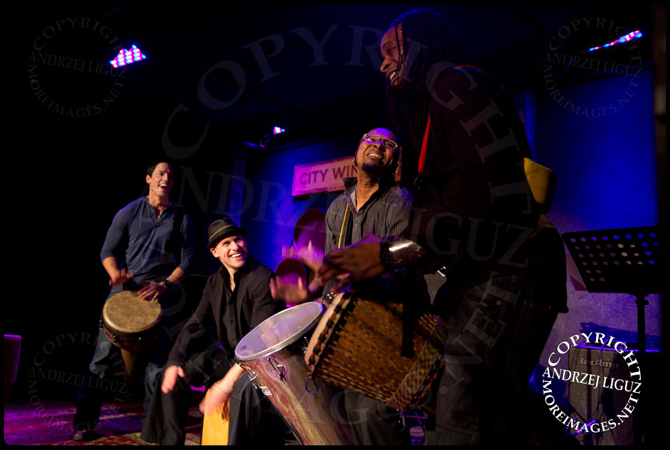 John Angeles, Dan Weiner, Davi Vieira and Keith Middleton playing drums at the African Childrens Choir 5th Annual NYC ChangeMakers Gala  © Andrzej Liguz/moreimages.net. Not to be used without permission