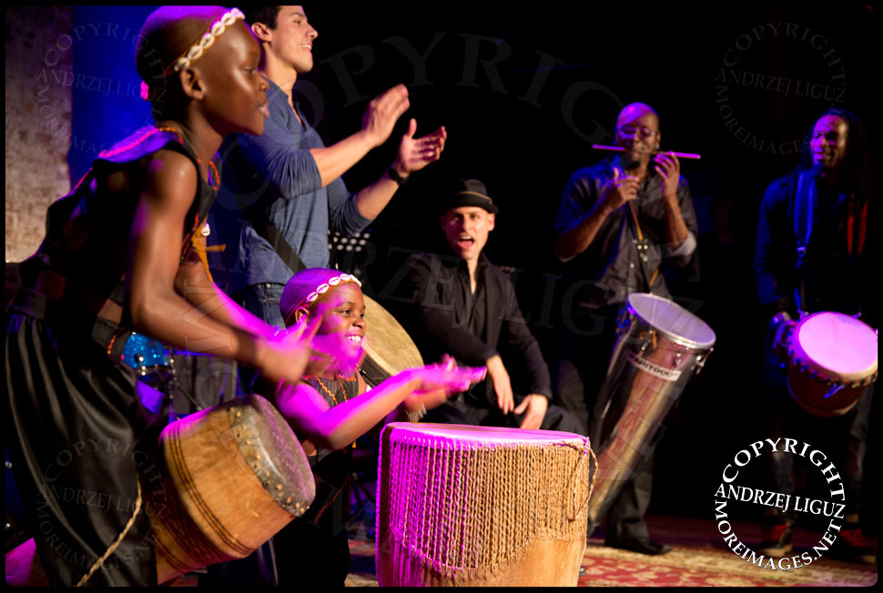 John Angeles, Dan Weiner, Davi Vieira and Keith Middleton playing drums with the African Childrens Choir at their 5th Annual NYC ChangeMakers Gala  © Andrzej Liguz/moreimages.net. Not to be used without permission
