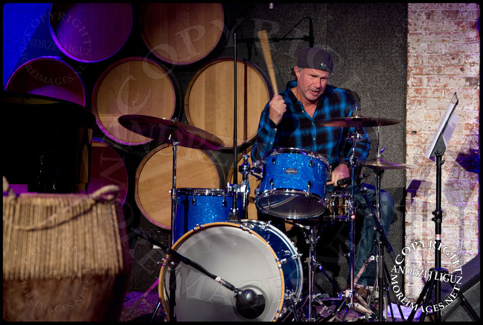 Red Hot Chili Peppers drummer Chad Smith playing drums at the African Childrens Choir 5th Annual NYC ChangeMakers Gala  © Andrzej Liguz/moreimages.net. Not to be used without permission