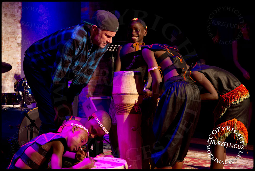 Red Hot Chili Peppers drummer Chad Smith with members of the African Childrens Choir at their 5th Annual NYC ChangeMakers Gala  © Andrzej Liguz/moreimages.net. Not to be used without permission