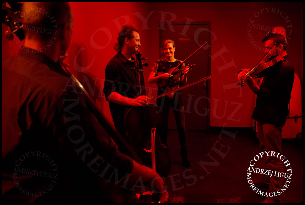 Members of ACO Underground warming up before their show at Le Poisson Rouge © Andrzej Liguz/moreimages.net. Not to be used without permission