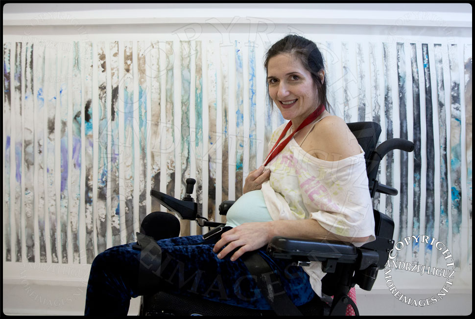 Artist Theresa Byrnes pregnant with her son Sparrow Joe Louis 2013-10-12 in her East Village Gallery 'Suffer' © Andrzej Liguz/moreimages.net. Not to be used without permission