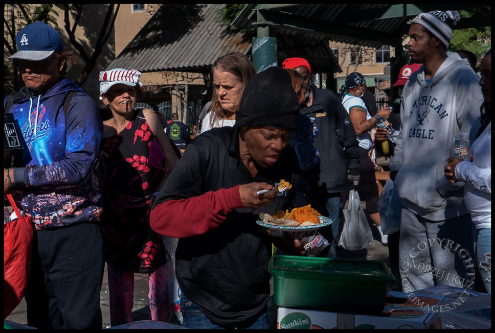 Feeding the homeless, San Julian Park, Skid Row, LA, Christmas Day 2018