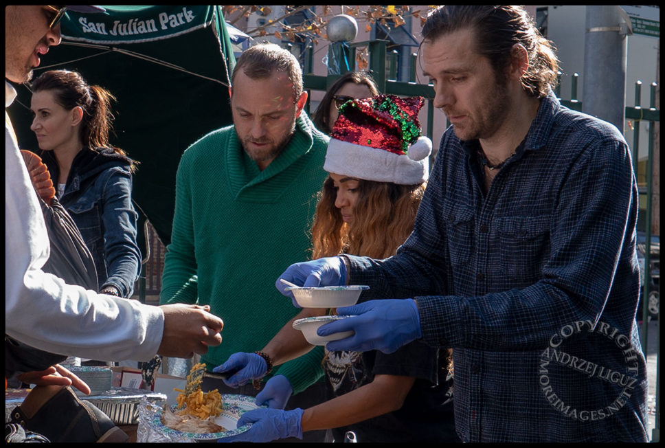 Anisa, Ayler & Naz with Oscar feeding the homeless, San Julian Park, Skid Row, LA, Christmas Day 2018