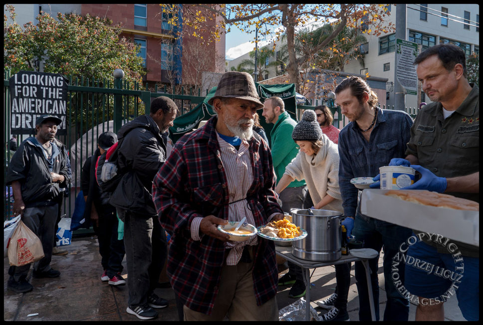 Feeding the homeless, San Julian Park, Skid Row. LA, Christmas Day 2018