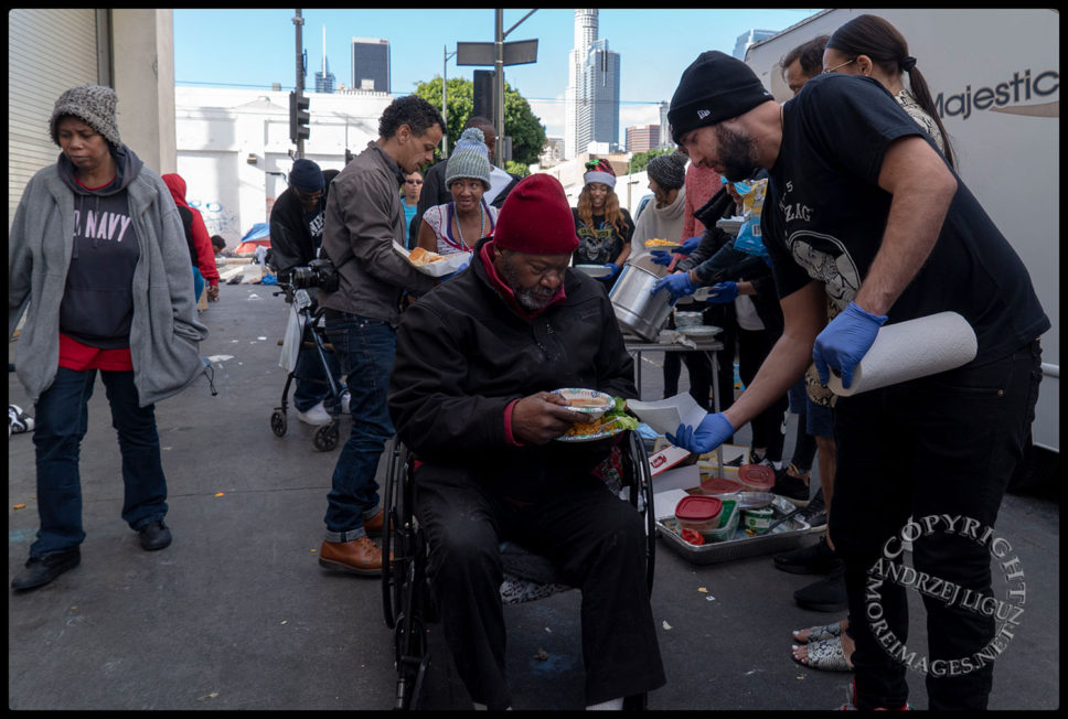Feeding the homeless, Skid Row, LA, Christmas Day 2018