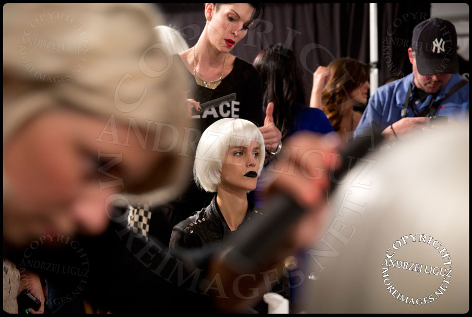 Preparing for the Falguni & Shane Peacock Spring & Summer 2014 show at NYC Fashion Week © Andrzej Liguz/moreimages.net. Not to be used without permission