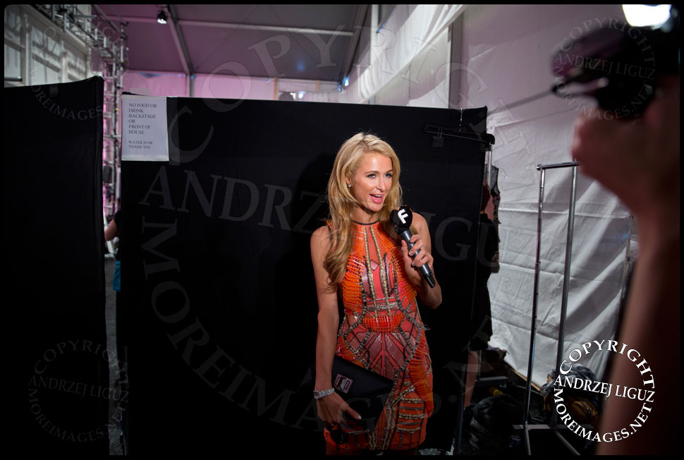 Paris Hilton backstage at the Falguni & Shane Peacock Spring & Summer 2014 show at NYC Fashion Week © Andrzej Liguz/moreimages.net. Not to be used without permission