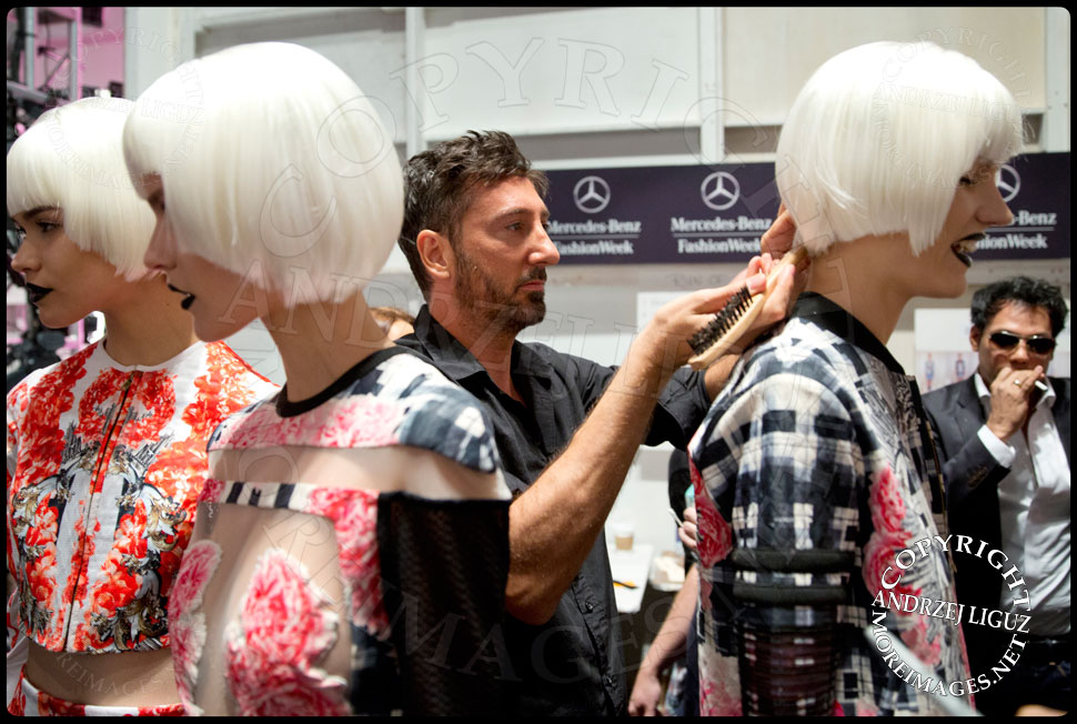 Applying the finishing touches to the models for the Falguni & Shane Peacock Spring & Summer 2014 show at NYC Fashion Week © Andrzej Liguz/moreimages.net. Not to be used without permission