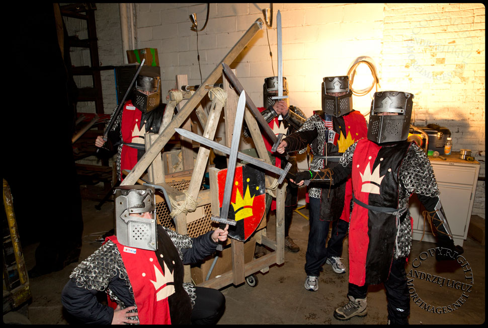 Disasterpiece 'Knight Shift' were first to cross the finishing line at Gowanus Ballroom in the 2013 NYC Idiotarod Race © Andrzej Liguz/moreimages.net. Not to be used without permission