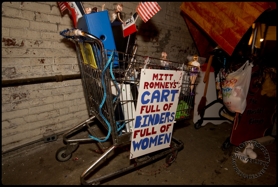 The 'Binders Of Women' cart during the Cirque de Idiotarod Afterparty at Gowanus Ballroom © Andrzej Liguz/moreimages.net. Not to be used without permission