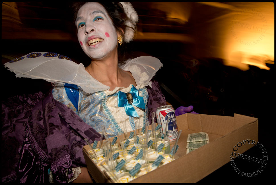 One of the Fake Work Ladies distributing jelly shots during the Cirque de Idiotarod Afterparty in Gowanus Ballroom © Andrzej Liguz/moreimages.net. Not to be used without permission