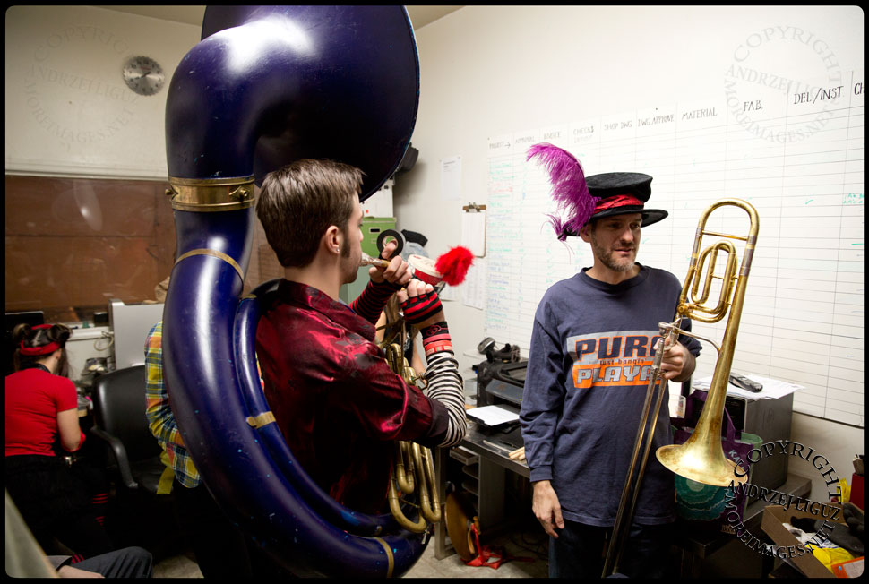 The Hungry March Band warming up in the Gowanus Ballroom office before performing at the Cirque de Idiotarod Afterparty © Andrzej Liguz/moreimages.net. Not to be used without permission