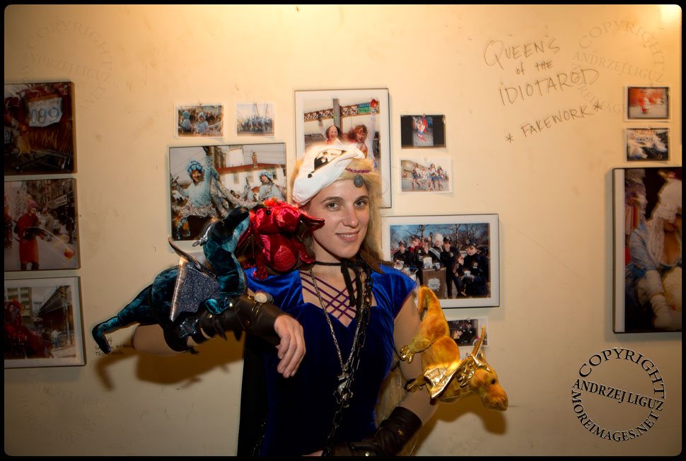 Nina Kostume Kult in front of the Fake Work Ladies exhibition at Gowanus Ballroom during the Cirque de Idiotarod Afterparty © Andrzej Liguz/moreimages.net. Not to be used without permission