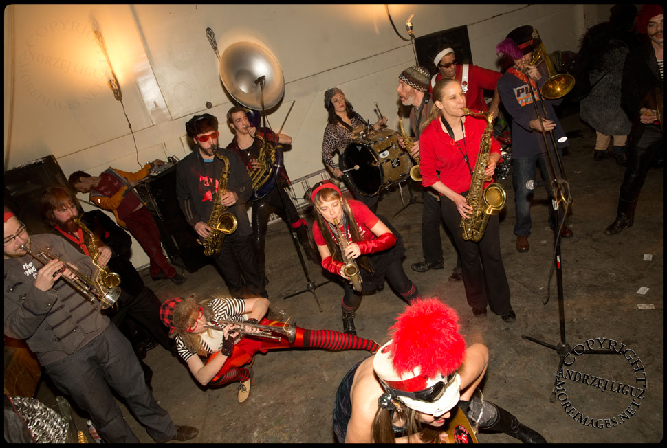 The Hungry March Band performing at the Cirque de Idiotarod Afterparty in Gowanus Ballroom © Andrzej Liguz/moreimages.net. Not to be used without permission