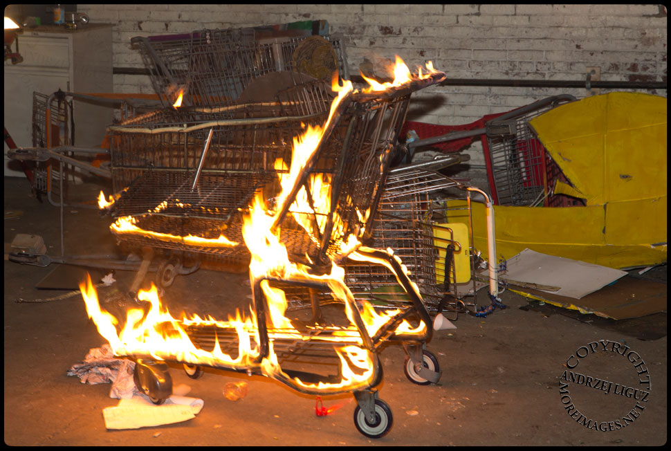The 'Flaming Shopping Cart Of Doom' at the Cirque de Idiotarod Afterparty in Gowanus Ballroom © Andrzej Liguz/moreimages.net. Not to be used without permission
