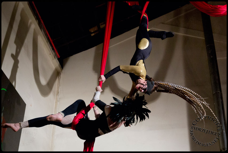 Ri Ki Kai Aerialists performing at the Cirque de Idiotarod Afterparty in Gowanus Ballroom © Andrzej Liguz/moreimages.net. Not to be used without permission