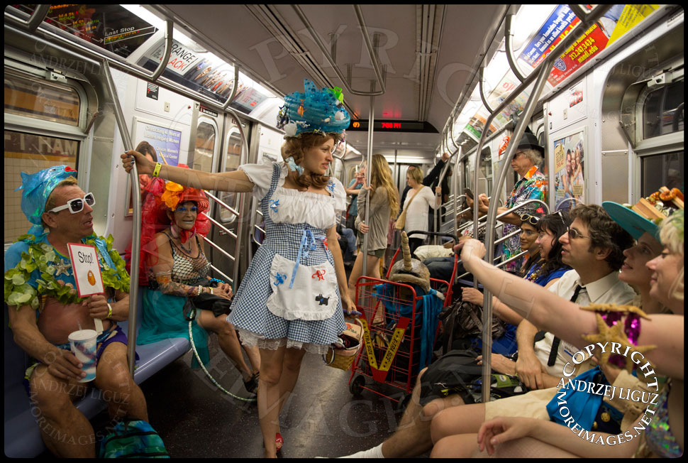 Travelling on the subway with members of Kostume Kult after Coney Island Mermaid Parade 2013 © Andrzej Liguz/moreimages.net. Not to be used without permission